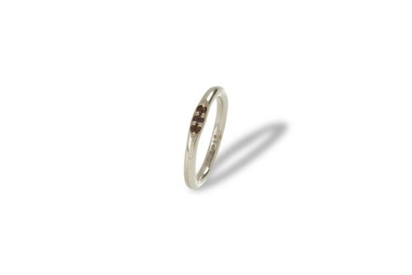 Image of Sterling silver mini signet ring with smoky quartz