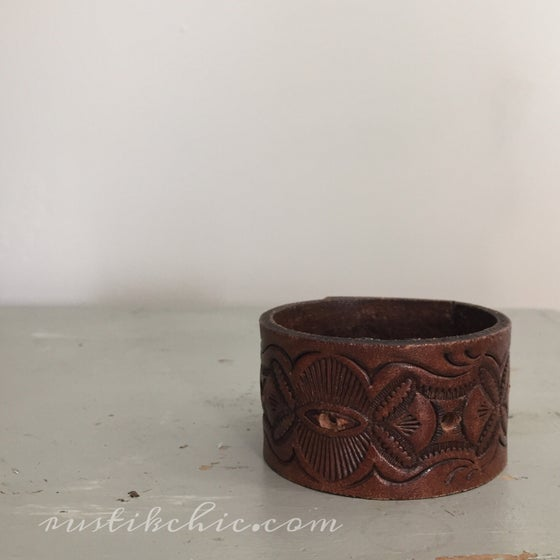 Image of Embossed Vintage Leather Cuff
