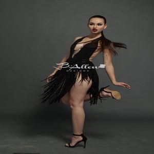 Image of Black beaded fringe dress