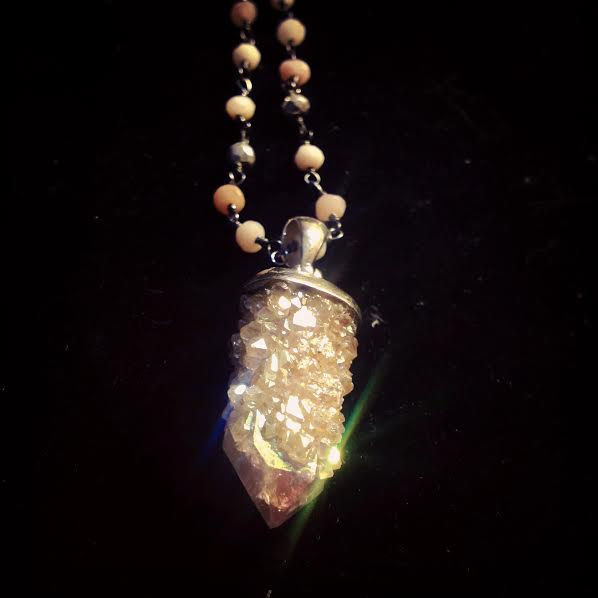 Image of Angel Aura Fairy Quartz on Sterling Silver and Chain of Pink Opal and Silver Pyrite