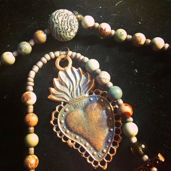 Image of Custom Channeled Milagro's or Miracle, Sacred Heart, Jasper, Smoky Quartz