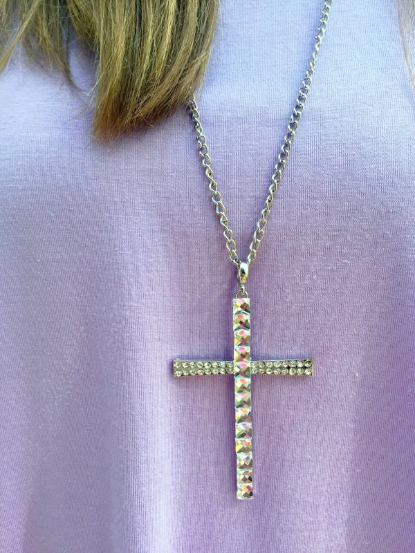 Image of Long Glass Bead Cross Necklace