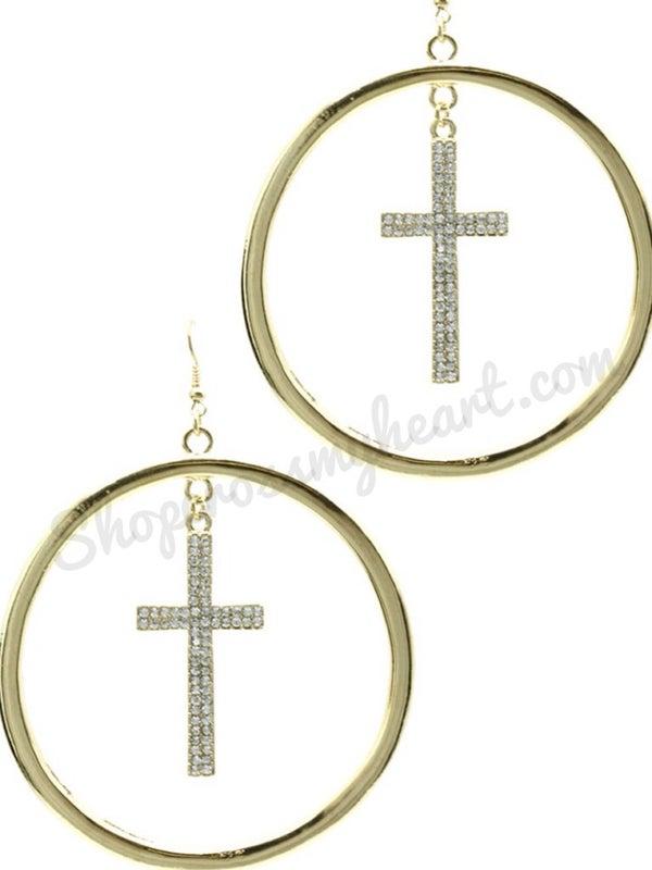 Image of Hanging Cross Earring