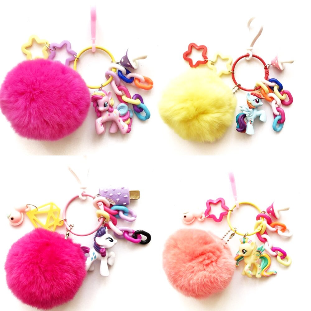 Image of My Little Pony keychain with Pompoms