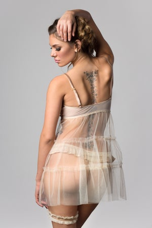 Image of INESS Nude Silk & Tulle ruffled babydoll