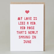 Image of My Love is like a red red rose (Card)
