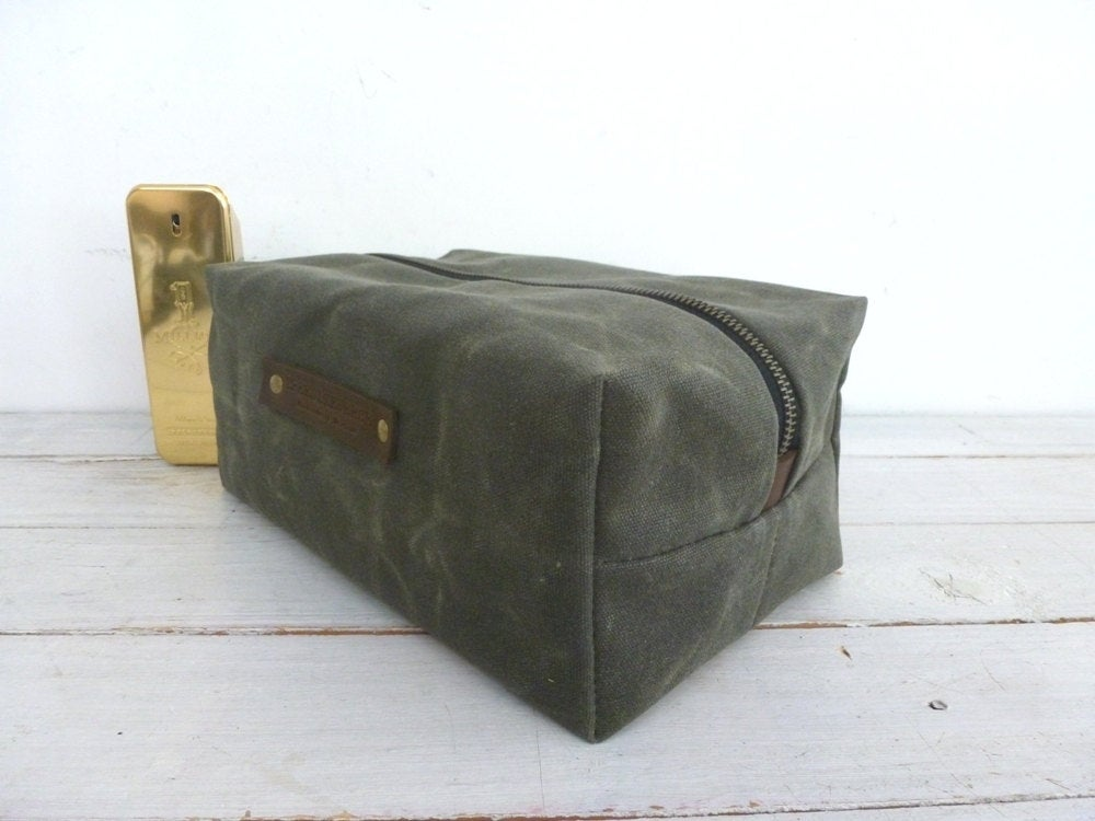 Image of Waxed canvas Dopp kit shaving bag toiletry bag