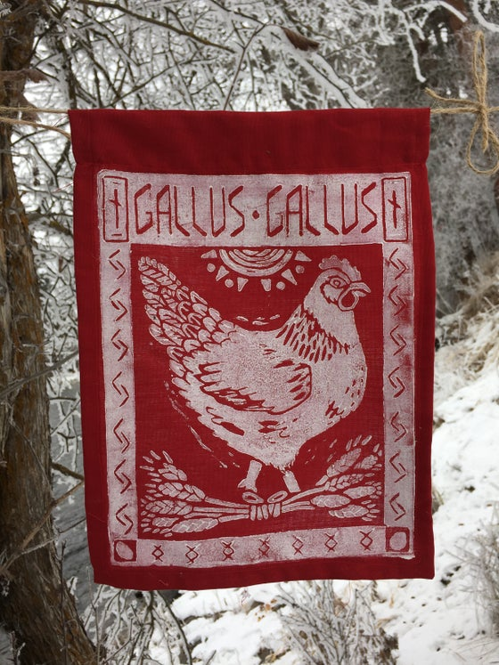 Image of Block Print Chicken Flag