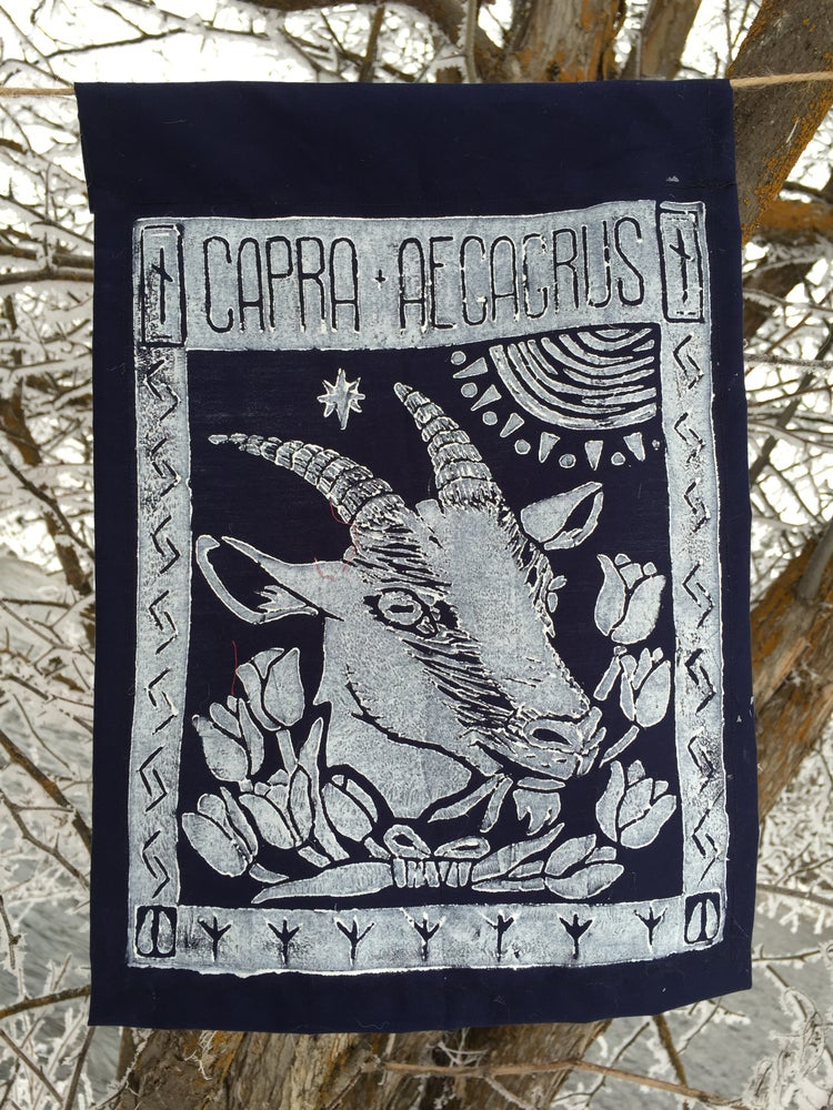 Image of Block Print Goat Flag
