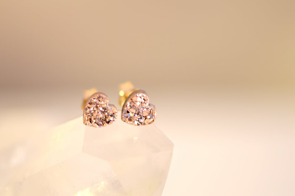 Image of Dainty Heart Rose Gold Druzy Studs , Heart Druzy Studs , Rose Gold Heart Stud Earrings