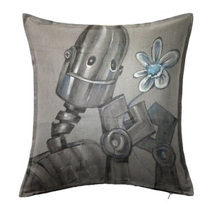Image of ROBOT!!! Custom Painted Throw Pillow