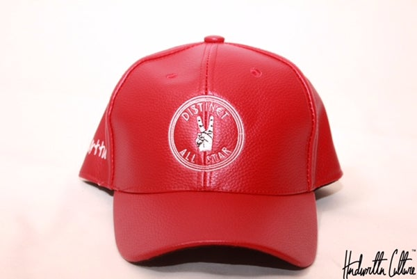 Image of Red Leather Distinct-All Star Hat