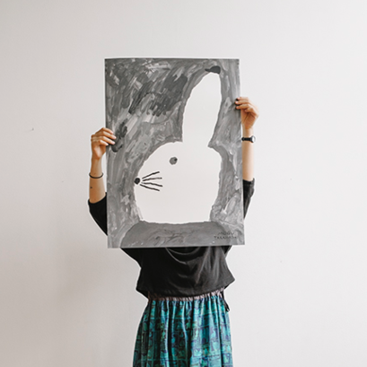 Image of Rabbit with a small hat -juliste
