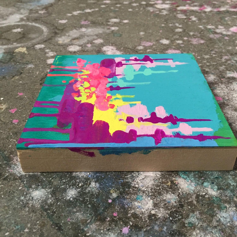 Image of tiny painting no. 36 (west texas summer sky, lemon, violet, opera)