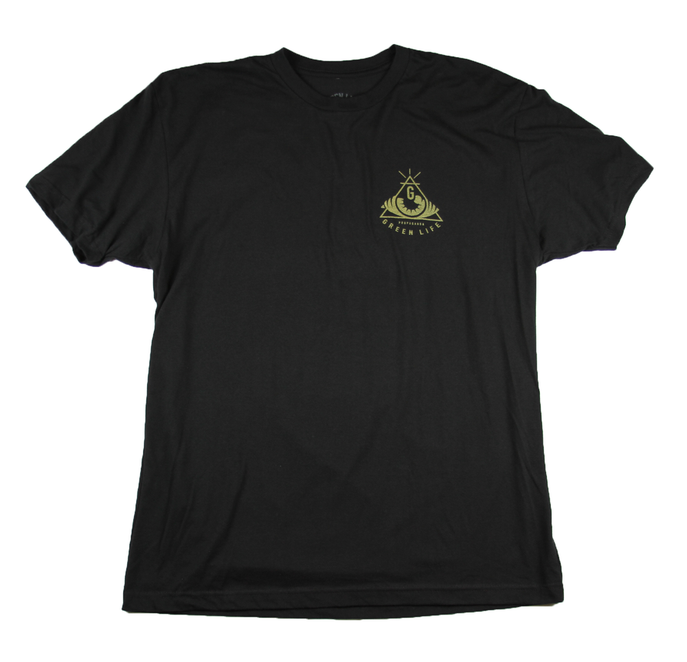 Image of The Pyramid Tee in Black (Metallic Gold Ink)