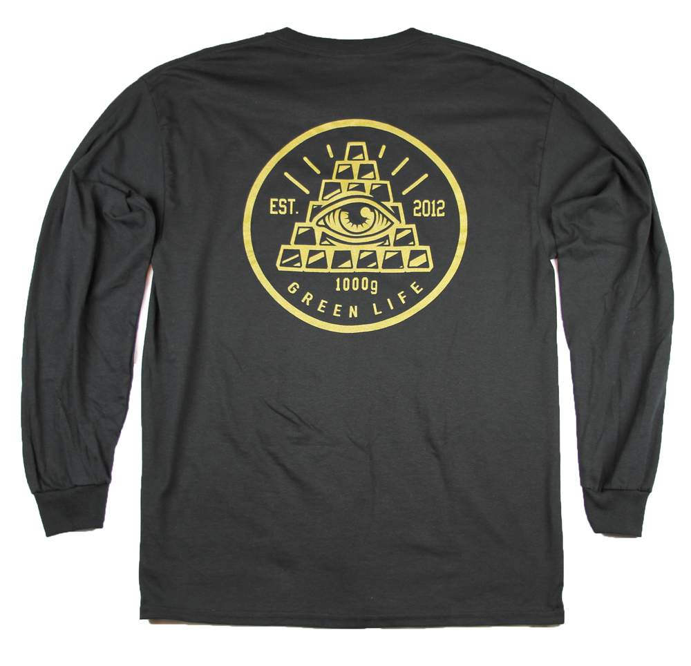 Image of The Pyramid Long Sleeve Tee in Black (Metallic Gold Ink)