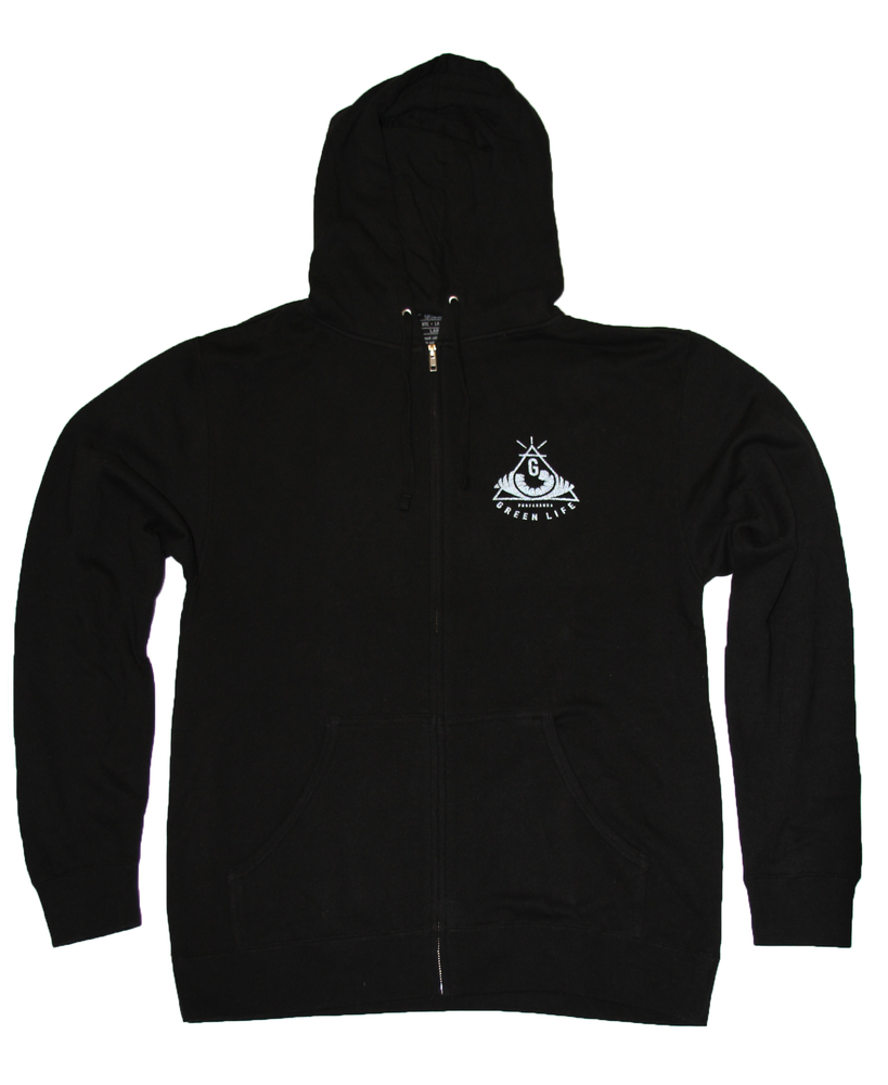 Image of The Pyramid Zip Up Hoodie in Black (3M Reflective Ink)