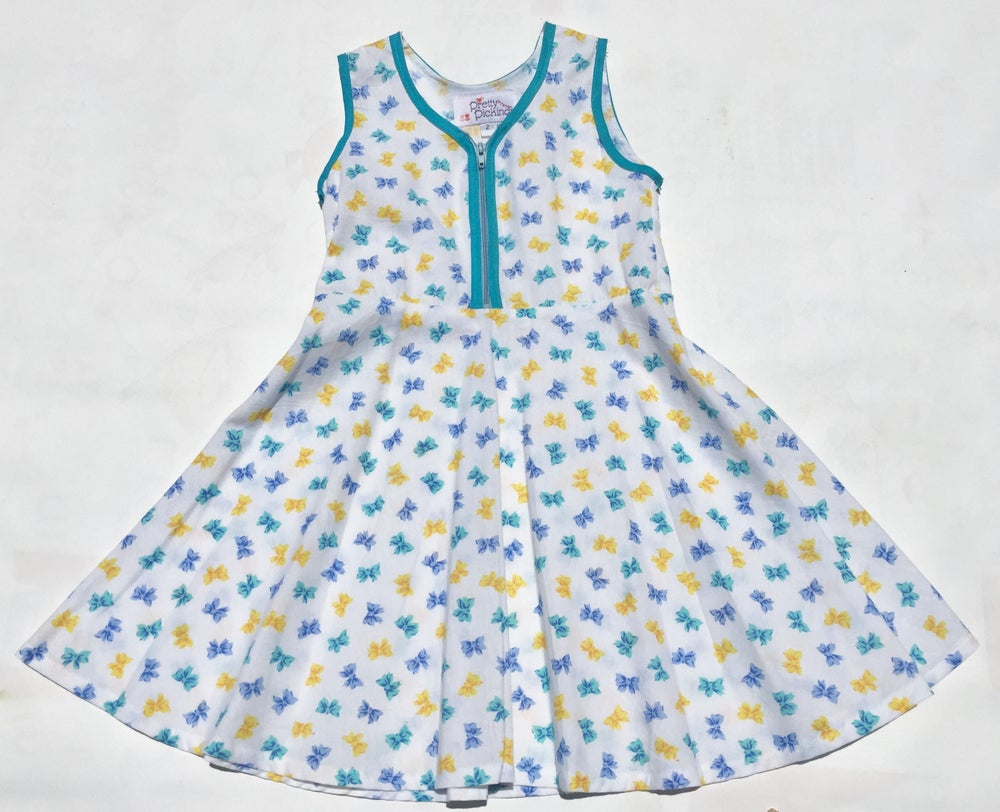 Image of Size 2 'Vintage Twirl' Dress - blue & yellow bows
