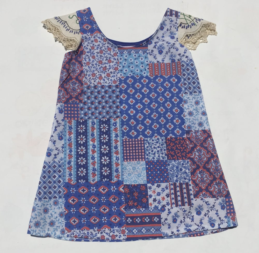 Image of Size 2 doily sleeved dress - blue patchwork