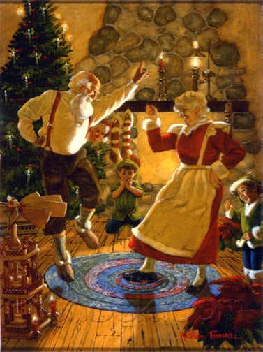 Image of Dancing Clauses | Santa Claus, Christmas Original Oil Painting: By Nathan Pinnock