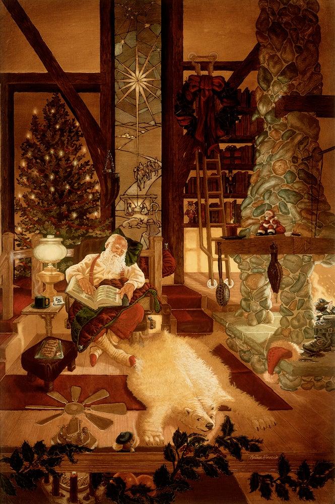 Image of A Job Well Done   Christmas Santa Art Original Oil Painting by Nathan Pinnock