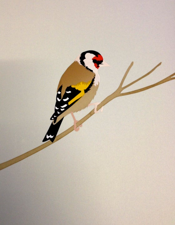 Image of Goldfinch paper cut screen prints