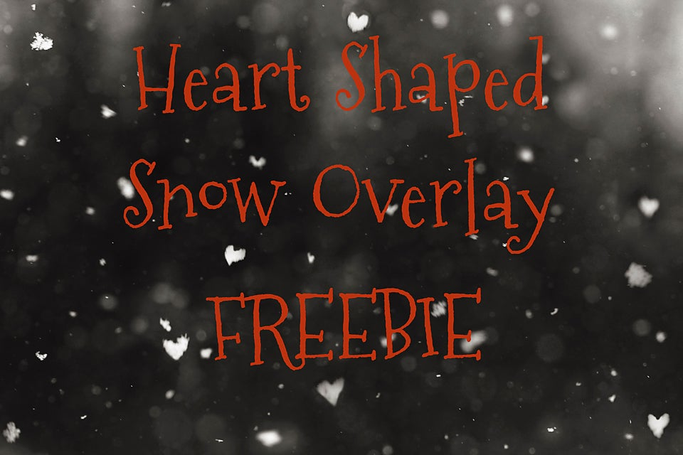 Image of Heart Shaped Snow Overlay FREEBIE
