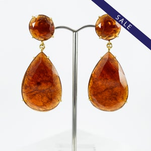 Image of Large garnet teardrop earrings