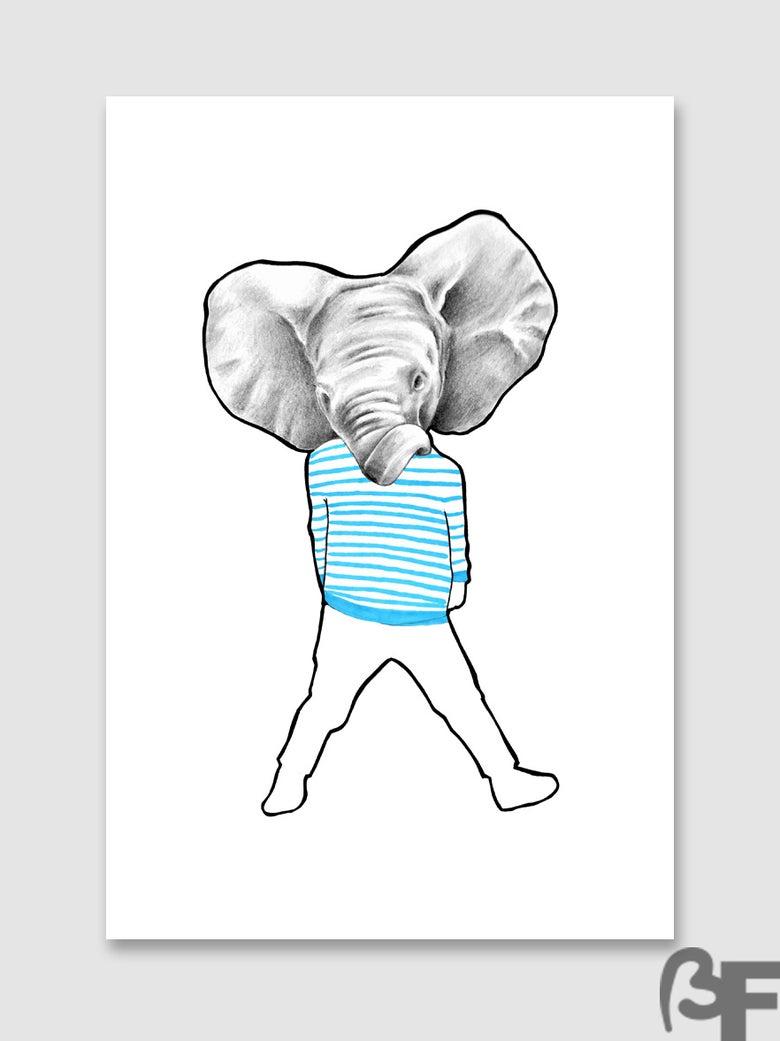 "Image of Ilustración Elefante serie ""Doble animal"" / Illustration Elephant series ""animal Double"""
