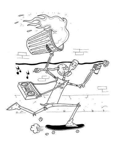 Image of Riot Style x Waybad Skeleton Skater Tee-Shirt