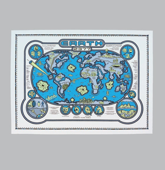 Image of Earth 2377 Map Print - b/y