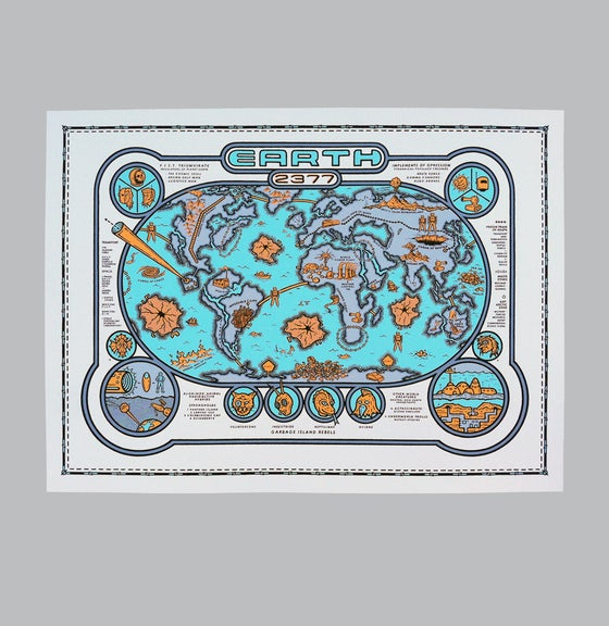 Image of Earth 2377 Map Print - b/o