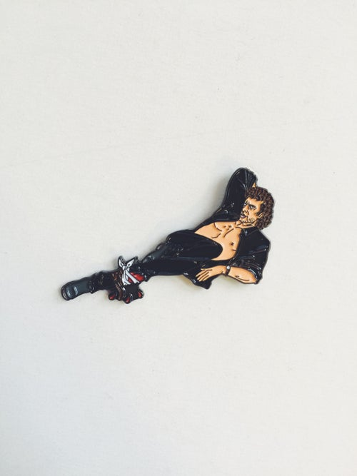 Image of Jurassic Park Dr. Ian Malcolm pin-up enamel pin