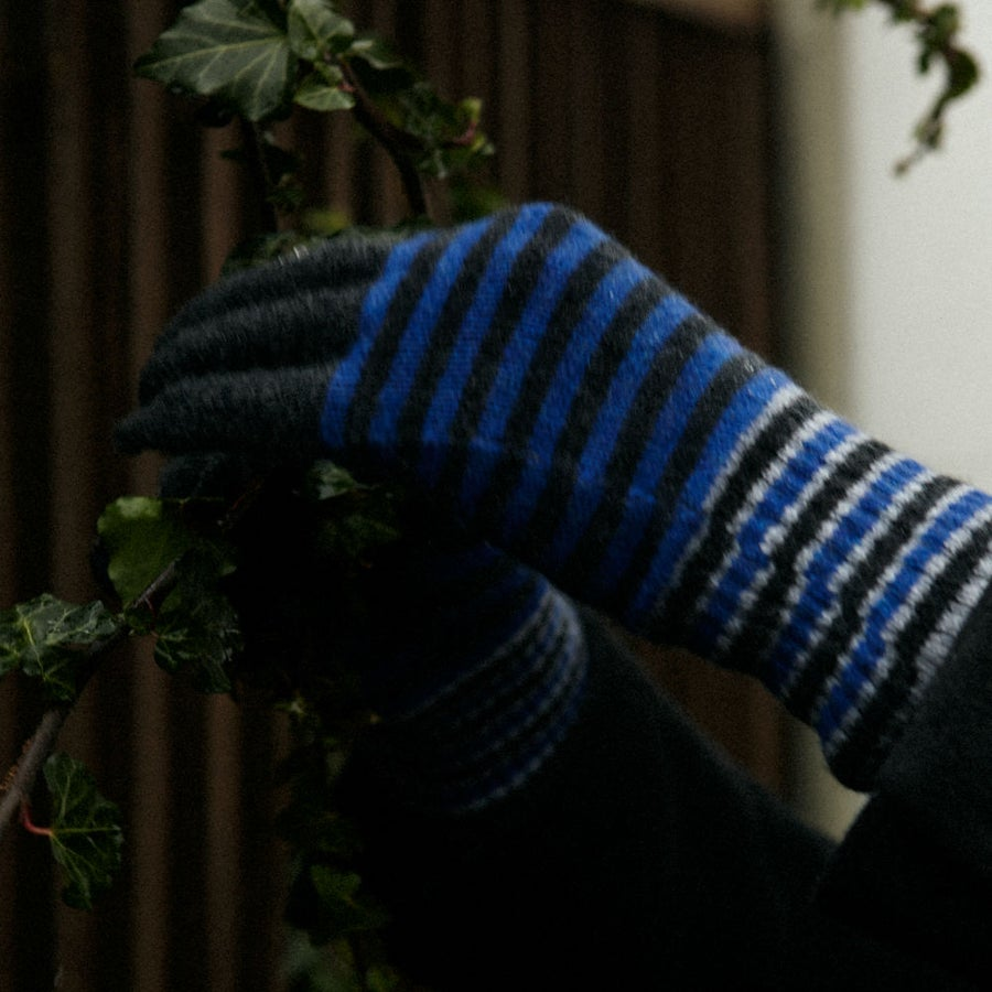 Image of Stripe Gloves (large) in Charcoal X Blue