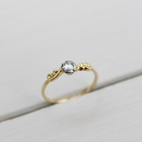 Image of SOLD little 18ct gold & platinum, 3mm rose-cut diamond ring