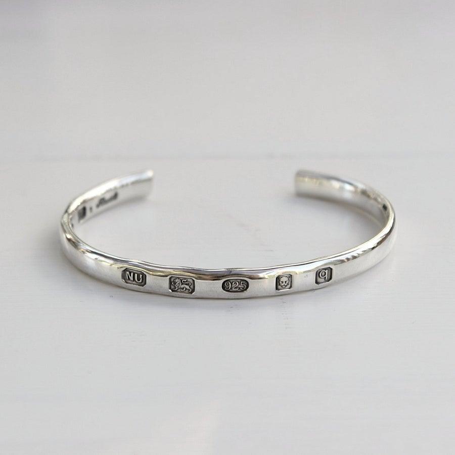 Image of men's silver ingot bangle (medium weight)