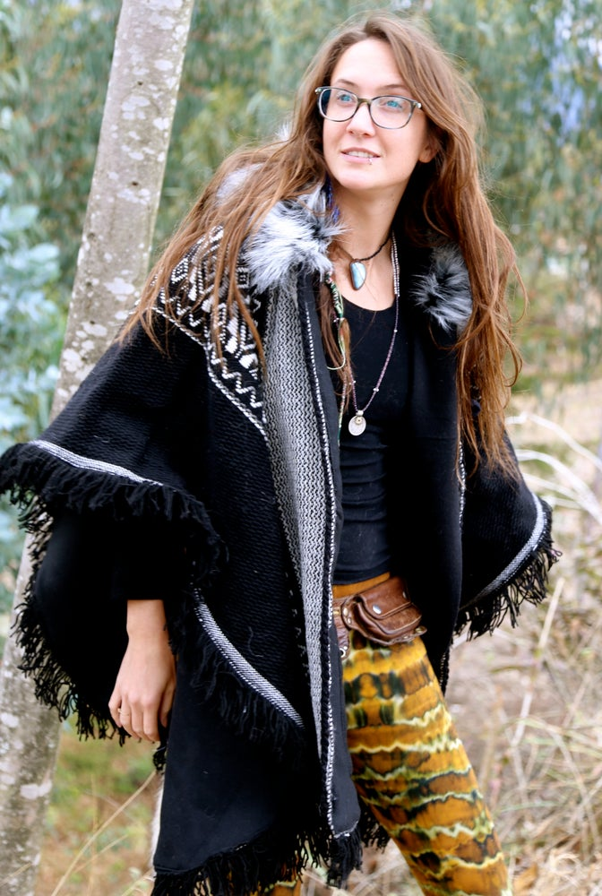 Image of Woven Wool Poncho with Fur Fringe