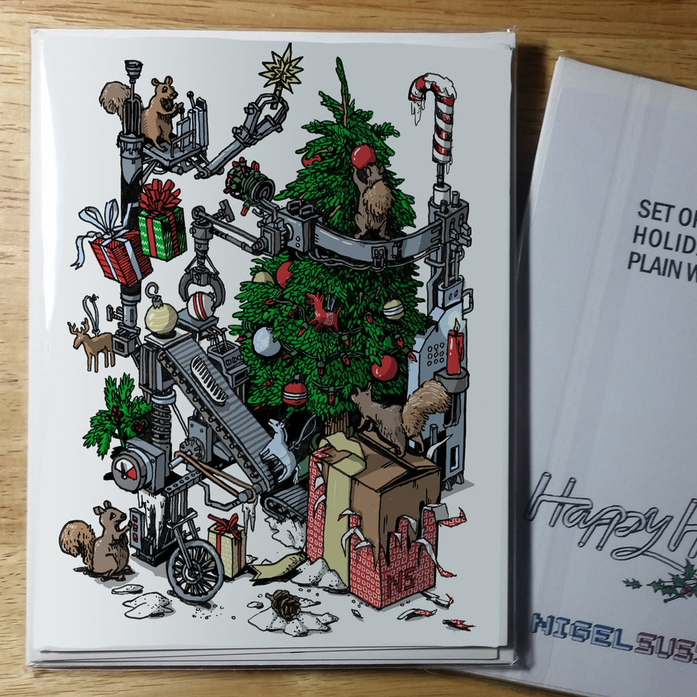 Image of Holiday Cards - Squirrels Trim the Tree