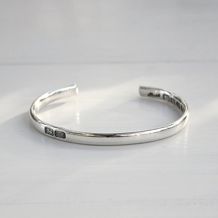 Image of men's silver ingot part mark bangle (medium weight)