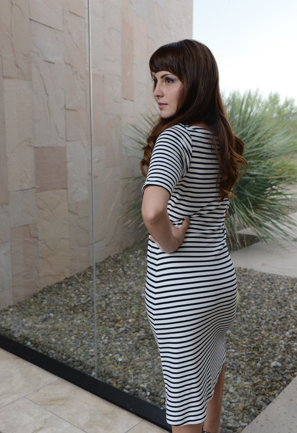 Image of TONATIUH STRIPED NAVY KNIT DRESS