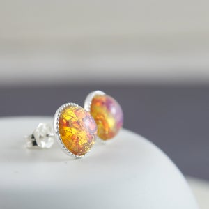 Image of Afira - Sterling Silver Fire Opal Studs