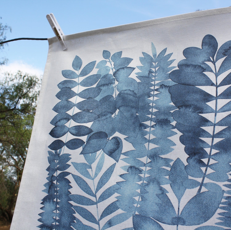 Image of Indigo Garden Printed Tea Towel