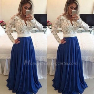 Image of Blue / Ivory Long Sleeves Prom Dress With Lace Bodice And Sheer Back
