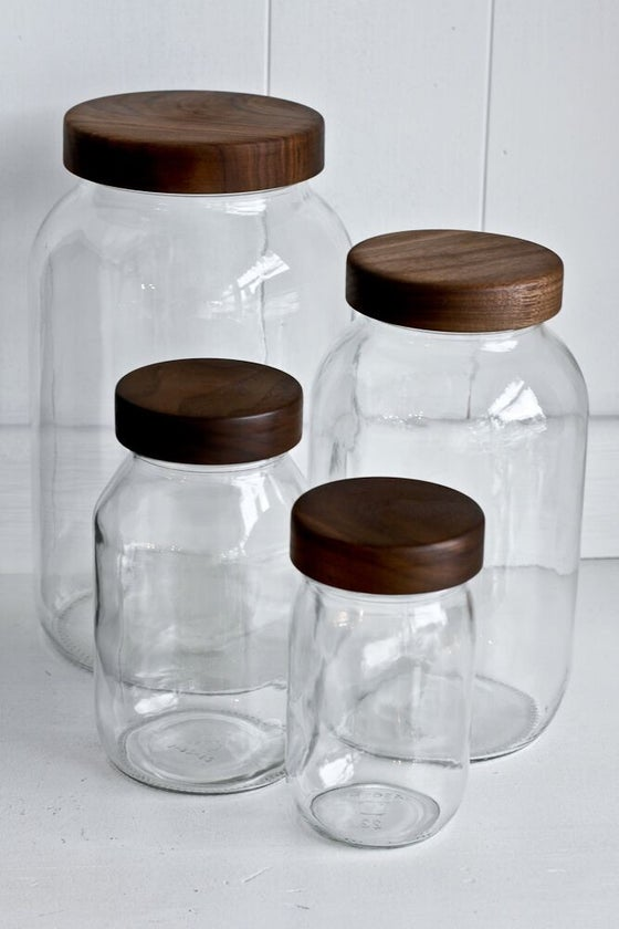 Image of Mason Jar storage set of 4, Walnut or local wood