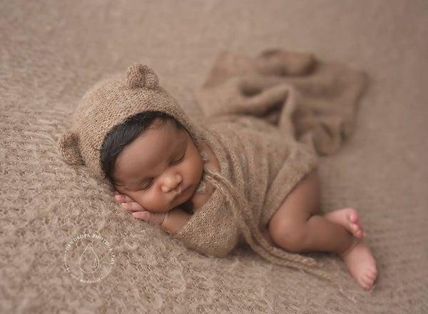 Image of Knit alpaca wrap and bear bonnet set NB size