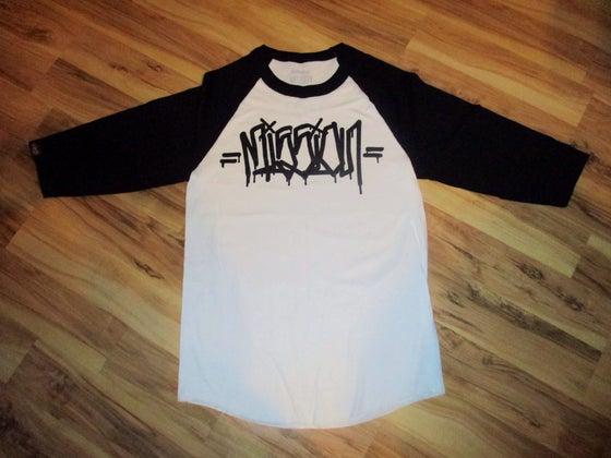 Image of MISSION G'$ raglan baseball black / white t shirt