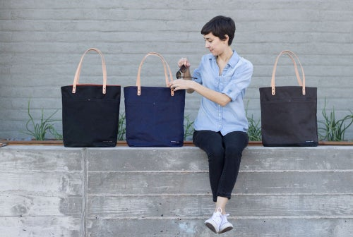 Image of Navy Waxed Canvas Tote