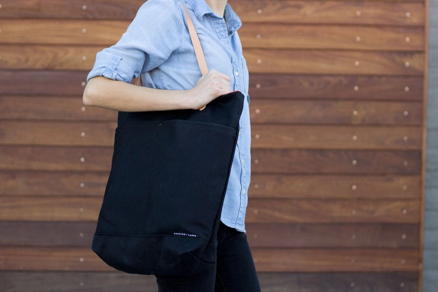 Image of Black Waxed Canvas Tote