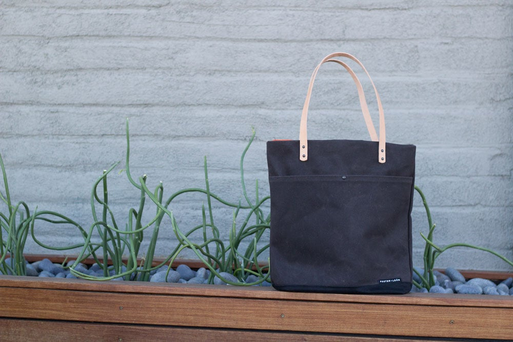 Image of Taupe Waxed Canvas Tote