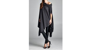 Image of Oversized Asymmetrical Poncho